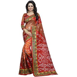 Awesome Brown Bhagalpuri Silk Saree