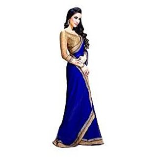 silk-mills blue embroidered sari