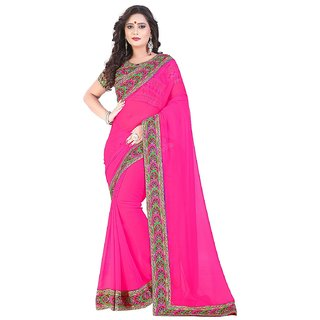 Saree Shop Pink Georgette Printed Saree With Blouse