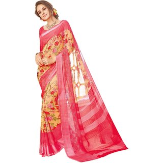 Sudarshan Silks Pink Georgette Embroidered Saree With Blouse