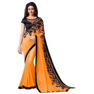 Aagaman Fashion Orange Georgette Embroidered Saree With Blouse