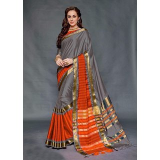 3f9f439e091fee Indian Beauty Women s Art Silk Grey and orange Saree With Unstiched Blouse  Piece