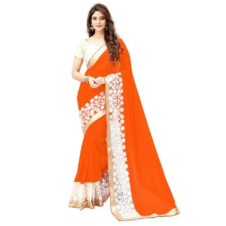 Meia Georgette Saree With Blouse Piece (2 orangeEmbsareeFree Size)