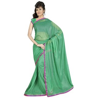 Sukuma Green Viscose Plain Saree With Blouse