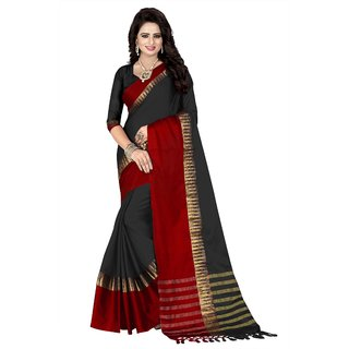 NEW MARUTI ENTERPRISE Black Cotton Silk Saree For Womens(41001)