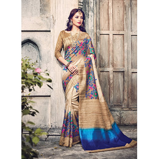 Swaron Beige & Blue Silk Floral Saree With Blouse