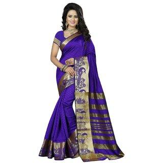 Subhash  Multicolor Plain Banarasi Cotton Silk Saree For Women
