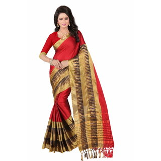 Samarth Fab Red Cotton Woven Design Saree With Blouse