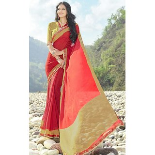 Subhash  Red Plain Synthetic Georgette Saree For Women