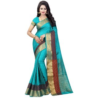 Subhash  Blue Plain Banarasi Cotton Silk Saree For Women