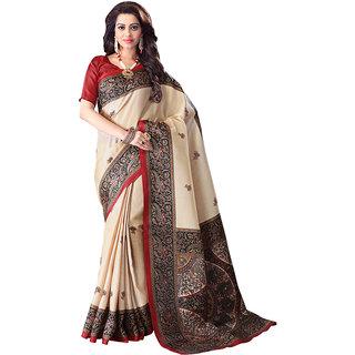 Swaron Beige Khadi Printed Saree With Blouse