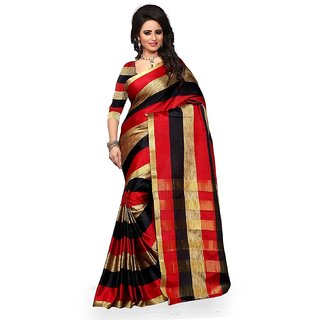 WatchBro Red Cotton Self Design Saree With Blouse