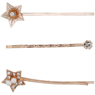 Bijou Vertex Rose Gold Crystal Embellished Star Hair Slides Bobby Pins Pack of 3 Hair Clip