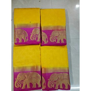 Subhash  Yellow Plain Silk Cotton Saree For Women
