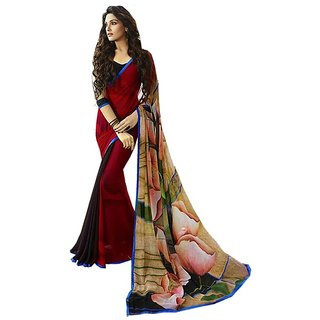 SR Maroon Georgette Self Design Saree With Blouse