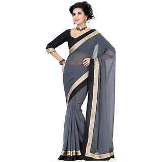 florence clothing company Grey Chiffon Plain Saree With Blouse
