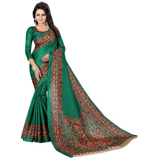 Shree Rajlaxmi Sarees Green Kalamkari Style Printed Soft Art Khadi Silk Saree
