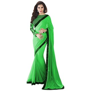 Aagaman Fashion Green Georgette Embroidered Saree With Blouse