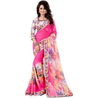 DECENT WORLD Branded Party wear Exclusive Printed Multi colored Georgette Saree with Blouse online