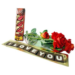 Romantic Combo of I Love You Chocolate ,Kissing Chocolate Pack and Artificial Flowers