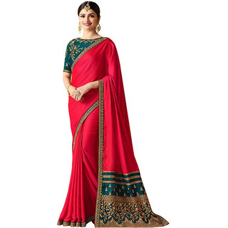 Women'sPink Colored Party Wear Silk Embroidery Saree with Blouse pis