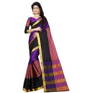 Nandini Creation Purple Cotton Silk Saree  PARI_MIX_BRP
