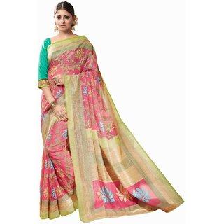 Sudarshan Silks Pink Bhagalpuri Silk Self Design Saree With Blouse