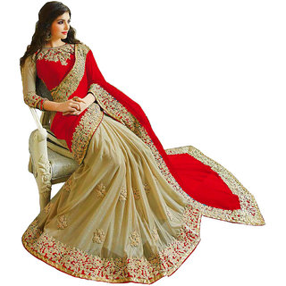 Women's Red Georgette+Lycra Sari With Blouse
