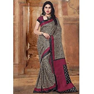 Swaron Beige & Maroon Silk Printed Saree With Blouse
