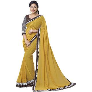 Triveni Yellow Chiffon Embroidered Saree With Blouse