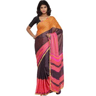 Triveni Black Georgette Printed Saree With Blouse