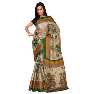 Triveni Saree Beige Silk Printed Saree With Blouse