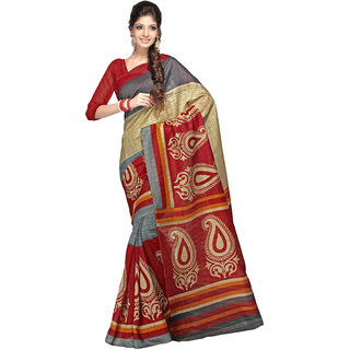 Khoobee Multicolor Silk Printed Saree With Blouse