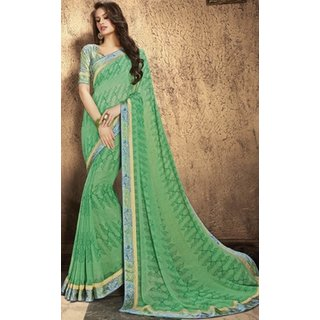 Sudarshan Silks Green Georgette Embroidered Saree With Blouse