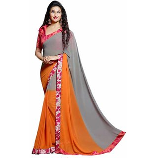 Shree Vardhman Orannge and Grey Georgette Unstiched Saree