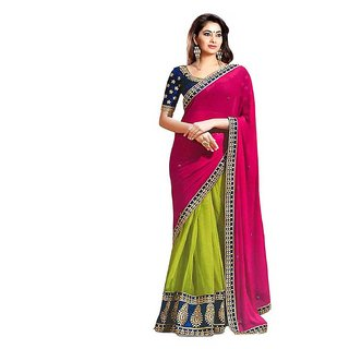 Online Fayda Multicolor Georgette Embroidered Saree With Blouse