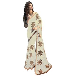 Fashions World White Georgette Embroidered Saree With Blouse
