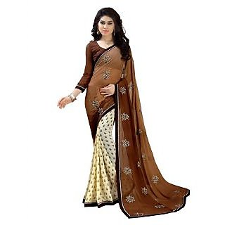 Swaron Multicolor Georgette Embroidered Saree With Blouse