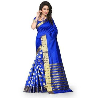 Shailaja Sarees Blue Cotton Embroidered Saree With Blouse