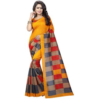 Meia Multicolor Bhagalpuri Silk Block Print Saree With Blouse