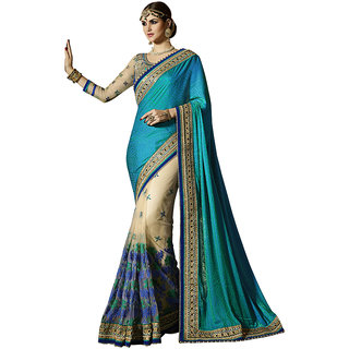 Swaron Blue Satin Embroidered Saree With Blouse