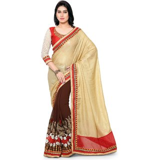 Triveni Brown Georgette Embroidered Saree With Blouse
