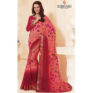 Sudarshan Silks Pink Polyester Self Design Saree With Blouse