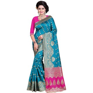 Krishnam Fashion Blue Banarasi Silk Printed Saree With Blouse