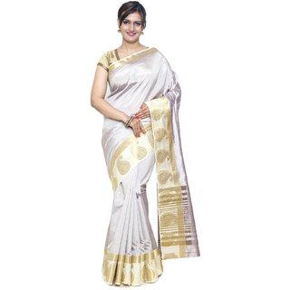 Sudarshan Silks Silver Raw Silk Self Design Saree With Blouse