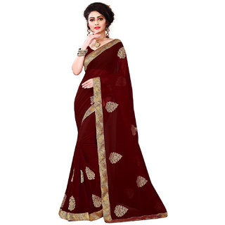 Meia brand new collection coffee designer sarees with blouse piece