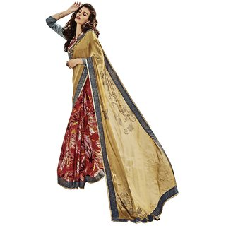 Triveni Maroon Georgette Printed Saree With Blouse