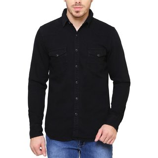 SBCLFS688 - Southbay Black Denim Long Sleeve Western Casual Party Shirt For Men