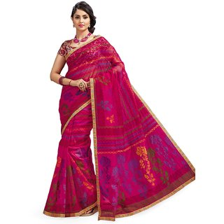 Sudarshan Silks Multicolor Net Self Design Saree With Blouse