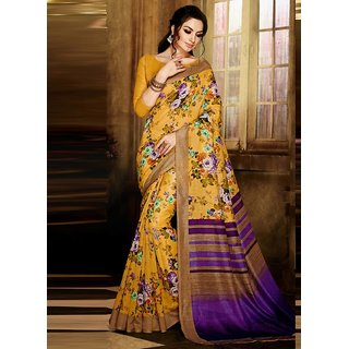Swaron Purple & Yellow Silk Floral Saree With Blouse